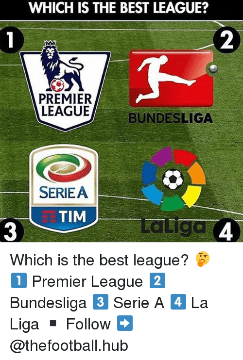 Memes, Premier League, and Best: WHICH IS THE BEST LEAGUE?  2  PREMIER  LEAGUE  BUNDESLIGA  SERIEA  死TIM  3  aliga  4 Which is the best league? 🤔 1️⃣ Premier League 2️⃣ Bundesliga 3️⃣ Serie A 4️⃣ La Liga ▪️ Follow ➡️ @thefootball.hub