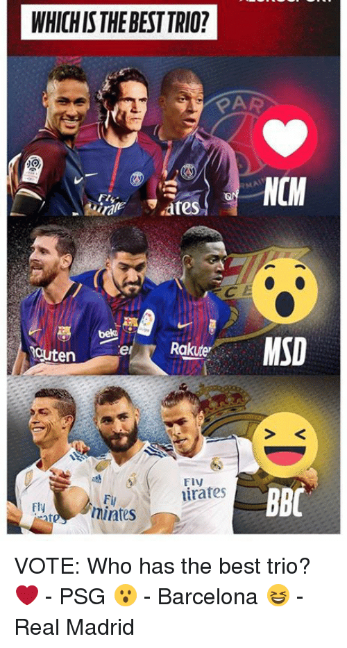 Barcelona, Memes, and Real Madrid: WHICH IS THE BEST TRIO?  bek  el  BBC  irates  Fi  mintes  Fly VOTE: Who has the best trio?   ❤️ - PSG 😮 - Barcelona   😆 - Real Madrid