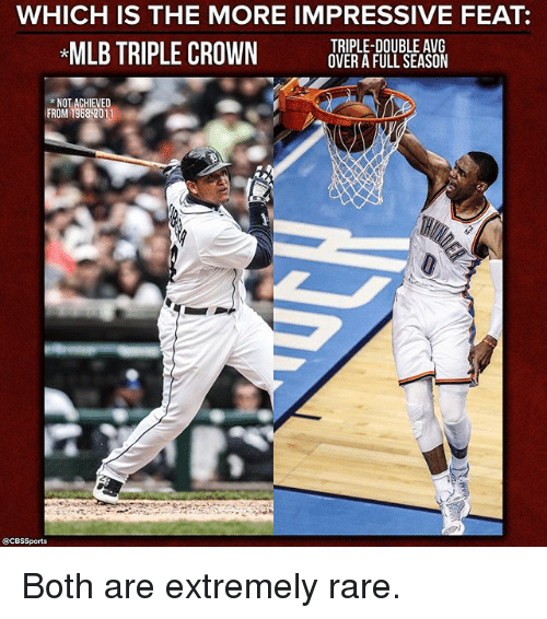 avg: WHICH IS THE MORE IMPRESSIVE FEAT  TRIPLE-DOUBLE AVG  MLB TRIPLE CROWN  OVER A FULL SEASON  NOT ACHIEVED  FROM 1968 2011  SCBssports Both are extremely rare.