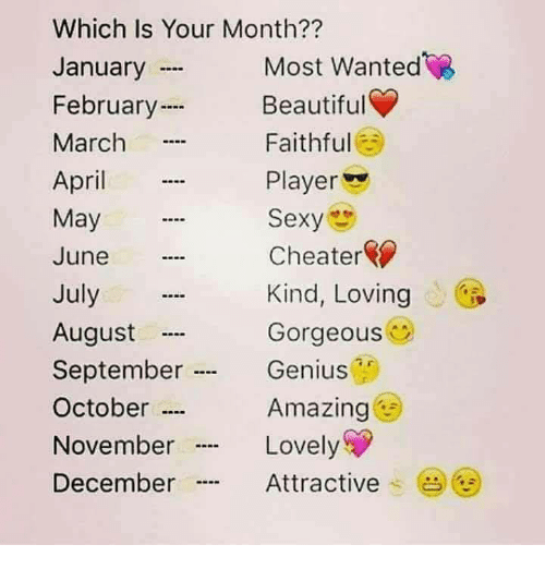 "Sexyness: Which Is Your Month??  January  February  March  April  May  June  July  August  September .  October …  November  December  Most Wanted  Beautiful  Faithful  Player  Sexy  Cheater  Kind, Loving  Gorgeous  Genius  Amazing  Lovely  Attractive .  (  ""…"