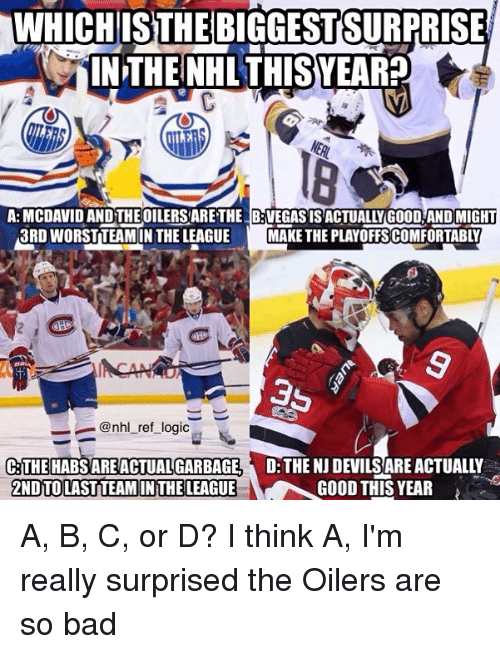 oilers: WHICH  ISTHEBIGGESTSURPRI  SE  IN THE NHL THISYEARP  A: MCDAVID AND THE OILERS ARETHE B:VEGASISACTUALLY GOOD AND MIGHT  3RD WORSTTEAMIN THE LEAGUEMAKE THE PLAYOFFSCOMFORTABLY  ー_ @nhl_ret_log.c  D THE NJ DEVILS ARE ACTUALLY  GOOD THIS YEAR  THE HABS ARE ACTUAL GARBAGE  2NDTOLAST TEAM IN THE LEAGUE A, B, C, or D? I think A, I'm really surprised the Oilers are so bad