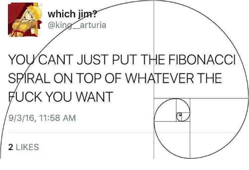 Fuck You, Fuck, and King: which jim  @king arturia  YOUCANT JUST PUT THE FIBONACCI  SPIRAL ON TOP OF WHATEVER THE  FUCK YOU WANT  9/3/16, 11:58 AM  2 LIKES
