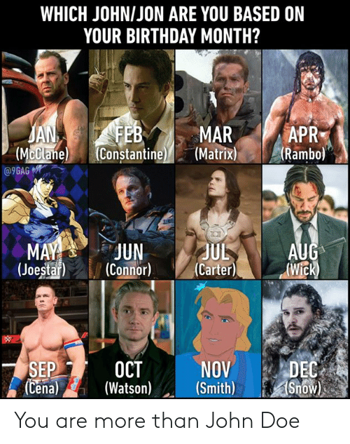 constantine: WHICH JOHNIJON ARE YOU BASED ON  YOUR BIRTHDAY MONTH?  APR  JA  (McClane  MAR  (Mclane Constantine(Matrixi  R  (Rambo)  e) (Constantine  (JoestarCnnor) (Carter)Wick)  NOVDEC  SEPI-2 OCT  (Cena)(Watso) (Smith)Snow You are more than John Doe