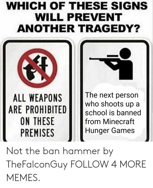 The Hunger Games: WHICH OF THESE SIGNS  WILL PREVENT  ANOTHER TRAGEDY?  The next person  who shoots up  ALL WEAPONS  ARE PROHIBITED  ON THESE  PREMISES  school is banned  from Minecraft  Hunger Games Not the ban hammer by TheFalconGuy FOLLOW 4 MORE MEMES.