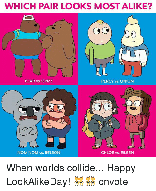 nom noms: WHICH PAIR LOOKS MOSTALIKE?  BEAR vs. GRIZZ  PERCY vs. ONION  NOM NOM vs. BELSON  CHLOE vs. EILEEN When worlds collide... Happy LookAlikeDay! 👯👯 cnvote