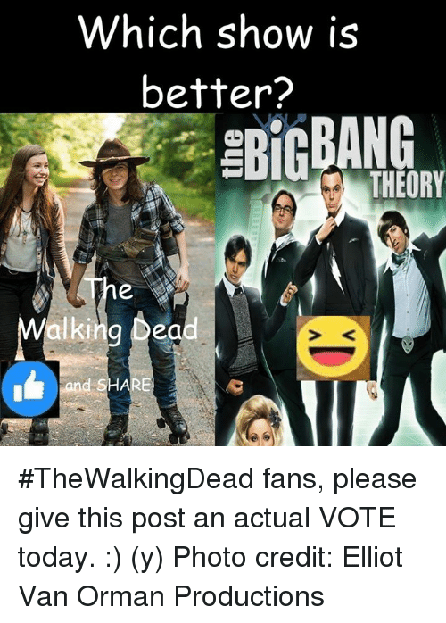 Memes, Vans, and 🤖: Which show is  better?  THEORY #TheWalkingDead fans, please give this post an actual VOTE today. :) (y)  Photo credit: Elliot Van Orman Productions