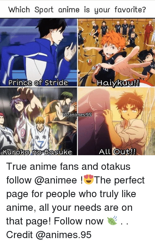 Anime, Memes, and Prince: Which Sport anime is your favorite?  12  Prince of Stride  Haiykuu!!  IG/animes95  7  Aulout! True anime fans and otakus follow @animee !😍The perfect page for people who truly like anime, all your needs are on that page! Follow now 🍃 . . Credit @animes.95
