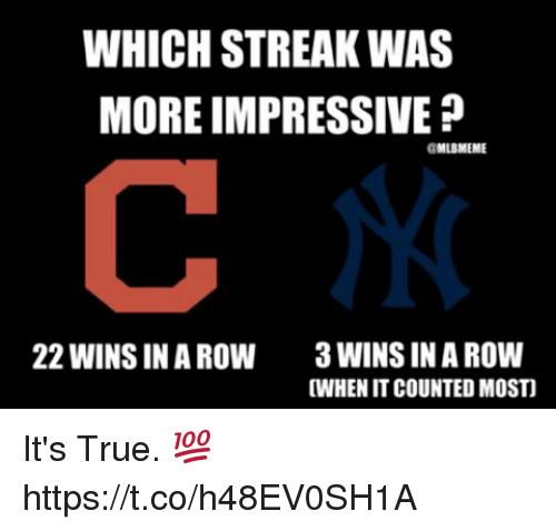 Memes, True, and 🤖: WHICH STREAK WAS  MORE IMPRESSIVE  GMLBMEME  3 WINS IN A ROW  WHEN IT COUNTED MOSTI  22 WINS IN A ROW It's True. 💯 https://t.co/h48EV0SH1A