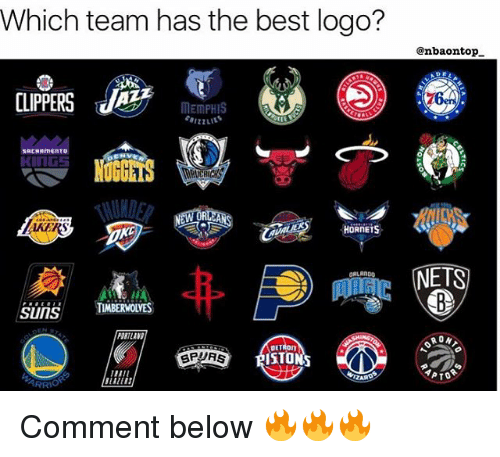 Memes, Best, and Clippers: Which team has the best logo?  @nbaontop  CLIPPERS 1 memPHIS  Ce  MEmPHIS  SACRRMENTO  KING5  AKER  HORNETS  NETS  snMBERMOUVES  PORTLAND  DETRON  SPURS Comment below 🔥🔥🔥