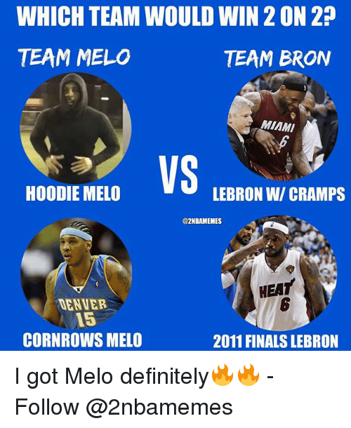 Definitely, Finals, and Nba: WHICH TEAM WOULD WIN 2 ON 2  TEAM MELO  TEAM BRON  MIAMI  VS  HOODIE MELO  LEBRON W/ CRAMPS  @2NBAMEMES  HEAT  6  DENVER  15  CORNROWS MELO  2011 FINALS LEBRON I got Melo definitely🔥🔥 - Follow @2nbamemes