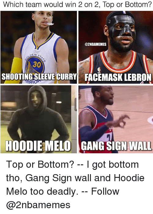 Gang Sign: Which team would win 2 on 2, Top or Bottom?  @2NBAMEMES  30  SHOOTING SLEEVE CURRY  FACEMASK LEBRON  RI  HOODIEMELOGANG SIGN WALL Top or Bottom? -- I got bottom tho, Gang Sign wall and Hoodie Melo too deadly. -- Follow @2nbamemes