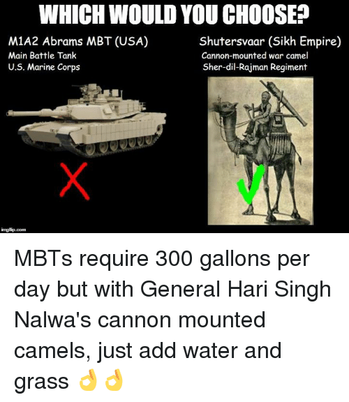 Sick Sikh: WHICH WOULD YOU CHOOSE?  M1A2 Abrams MBT (USA)  Shutersvaar (Sikh Empire)  Main Battle Tank  Cannon-mounted war camel  Sher-dil-Rajman Regiment  U.S. Marine Corps MBTs require 300 gallons per day but with General Hari Singh Nalwa's cannon mounted camels, just add water and grass 👌👌