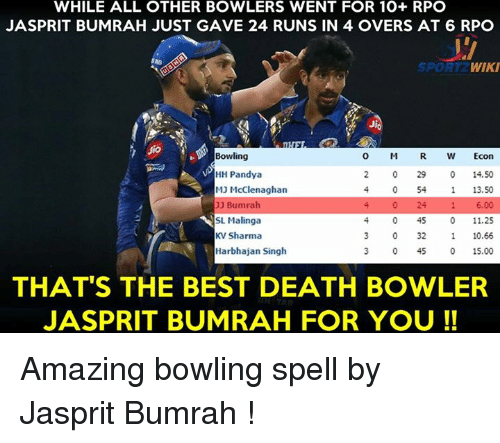 rpo: WHILE ALL OTHER BOWLERS WENT FOR 10+ RPO  JASPRIT BUMRAH JUST GAVE 24 RUNS IN 4 OVERS AT 6 RPO  WIKI  SPORT  Bowling  O M  R W Econ  HH Pandya  0 29 14.50  MJ McClenaghan  13.50  1 6.00  UJ Bumrah  24  o 45  11.25  SL Malinga  KV Sharma  0 32  10.66  Harbhajan Singh  0 45  0 15.00  THAT'S THE BEST DEATH BOWLER  JASPRIT BUMRAH FOR YOU Amazing bowling spell by Jasprit Bumrah !
