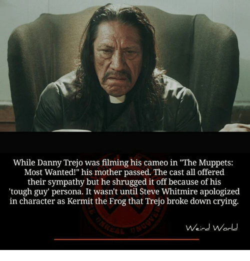 "Danny Trejo, Kermit the Frog, and Memes: While Danny Trejo was filming his cameo in ""The Muppets  Most Wanted!"" his mother passed. The cast all offered  their sympathy but he shrugged it off because of his  ""tough guy persona. It wasn't until Steve Whitmire apologized  in character as Kermit the Frog that Trejo broke down crying.  Weird World"