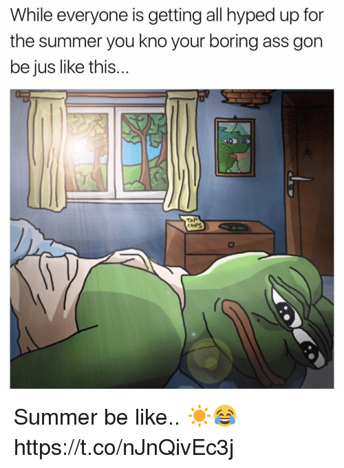 Ass, Be Like, and Memes: While everyone is getting all hyped up for  the summer you kno your boring ass gon  be jus like this...  ToP  CHIPS Summer be like.. ☀️😂 https://t.co/nJnQivEc3j