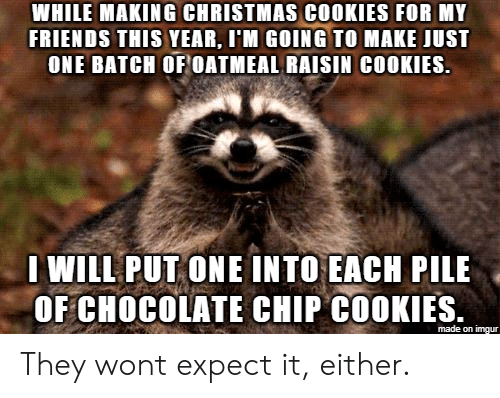 chocolate chip cookies: WHILE MAKING CHRISTMAS COOKIES FOR MY  FRIENDS THIS YEAR, I'M GOING TO MAKE JUST  ONE BATCH OF OATMEAL RAISIN COOKIES.  WILL PUT ONE INTO EACH PILE  OF CHOCOLATE CHIP COOKIES.  made on imgur They wont expect it, either.