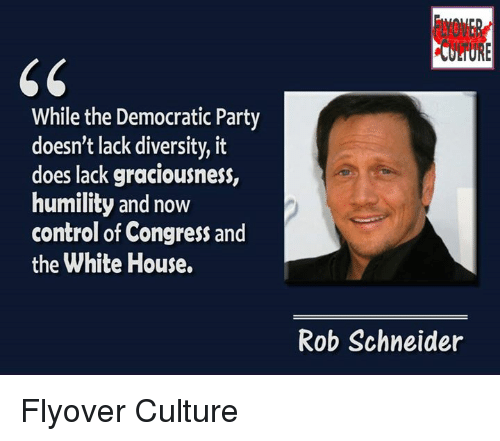Memes, White House, and Democratic Party: While the Democratic Party  doesn't lack diversity, it  does lack graciousness,  humility and now  control of Congress and  the White House.  Rob Schneider Flyover Culture