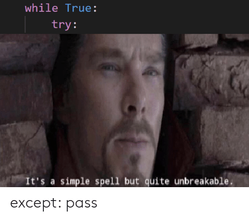 Quite Unbreakable: while True:  try:  It's a simple spell but quite unbreakable except: pass