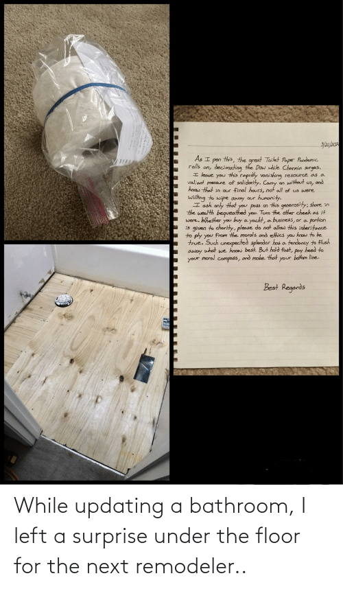 The Floor: While updating a bathroom, I left a surprise under the floor for the next remodeler..