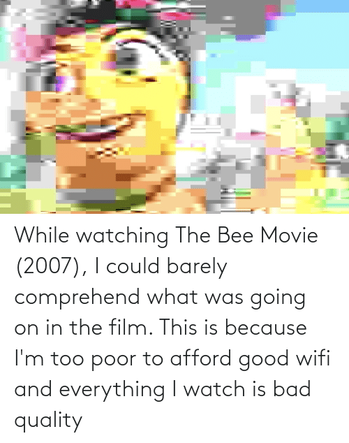 the bee movie: While watching The Bee Movie (2007), I could barely comprehend what was going on in the film. This is because I'm too poor to afford good wifi and everything I watch is bad quality