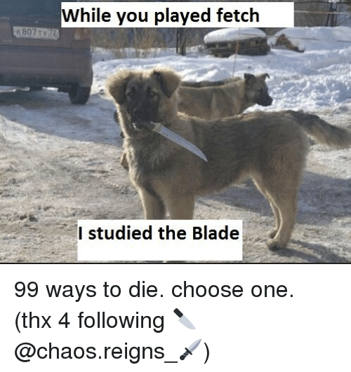 ways to die: While you played fetclh  I studied the Blade 99 ways to die. choose one. (thx 4 following 🔪@chaos.reigns_🗡)