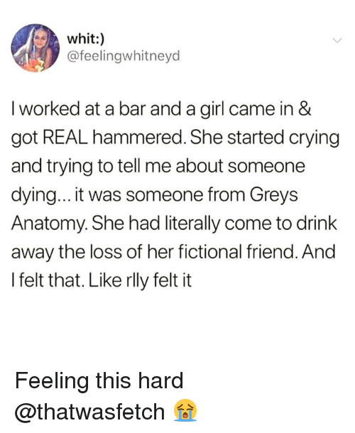 Grey's Anatomy: whit:  @feelingwhitneyd  I worked at a bar and a girl came in &  got REAL hammered. She started crying  and trying to tell me about someone  dying... it was someone from Greys  Anatomy. She had literally come to drink  away the loss of her fictional friend. Ano  l felt that. Like rlly felt it Feeling this hard @thatwasfetch 😭