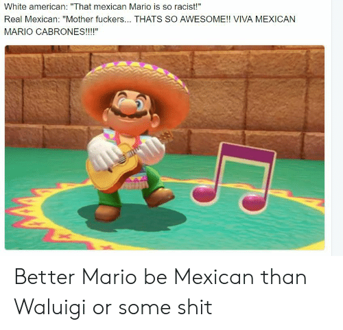 """Cabrones: White american: """"That mexican Mario is so racist!""""  Real Mexican: """"Mother fuckers... THATS SO AWESOME!! VIVA MEXICAN  MARIO CABRONES!!!!"""" Better Mario be Mexican than Waluigi or some shit"""