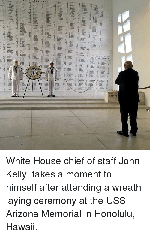 honolulu: White House chief of staff John Kelly, takes a moment to himself after attending a wreath laying ceremony at the USS Arizona Memorial in Honolulu, Hawaii.