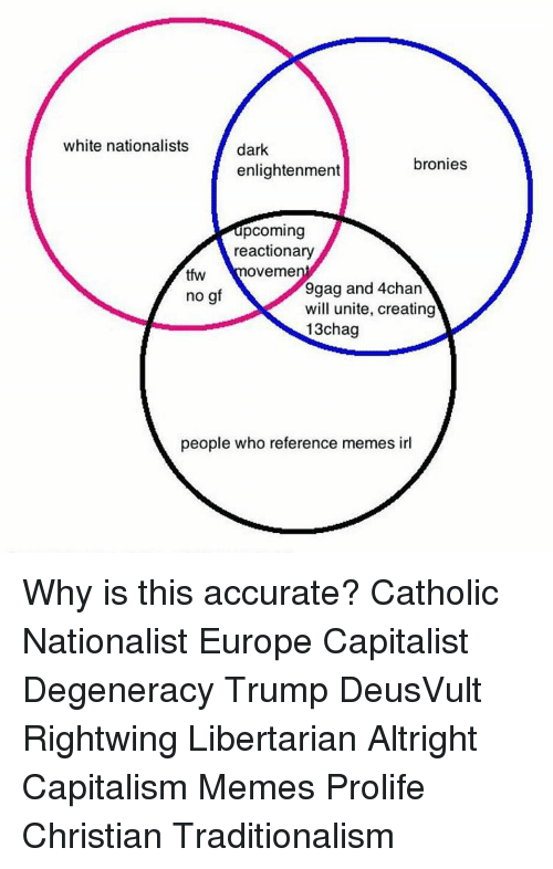 Memes, Tfw, and Capital: white nationalists  dark  bronies  enlightenment  pcoming  reactionary  OVemer  tfw  gag and 4chan  no g  will unite, creating  13chag  people who reference memes irl Why is this accurate? Catholic Nationalist Europe Capitalist Degeneracy Trump DeusVult Rightwing Libertarian Altright Capitalism Memes Prolife Christian Traditionalism