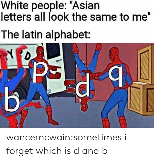 "All Look The Same: White people: ""Asian  letters all look the same to me""  The latin alphabet: wancemcwain:sometimes i forget which is d and b"