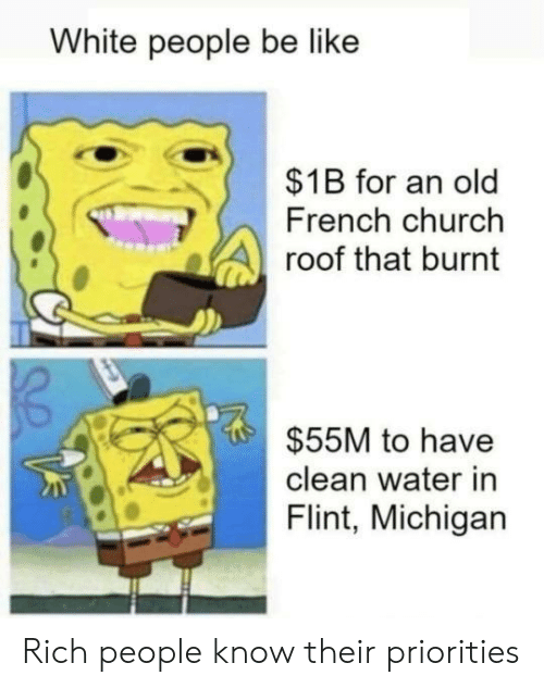 burnt: White people be like  $1B for an old  French church  roof that burnt  $55M to have  clean water in  Flint, Michigan Rich people know their priorities