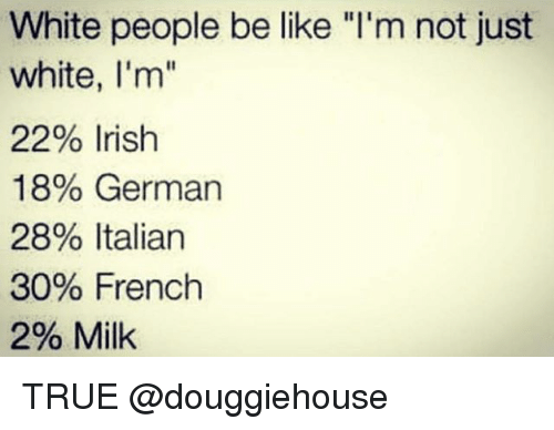 "Be Like, Irish, and True: White people be like ""I'm not just  white, I'm""  2290 Irish  18% German  28% Italian  30% French  2% Milk TRUE @douggiehouse"