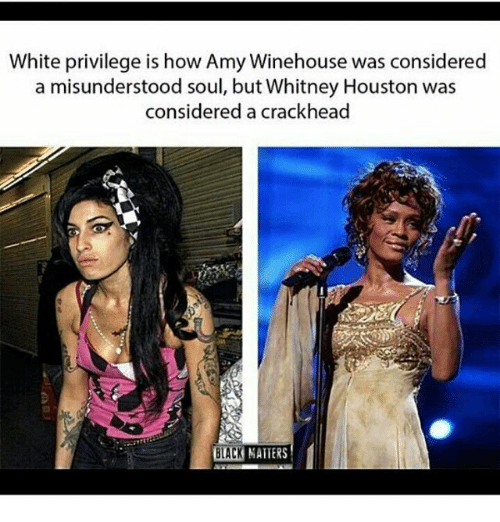 Crackhead, Memes, and Whitney Houston: White privilege is how Amy Winehouse was considered  a misunderstood soul, but Whitney Houston was  considered a crackhead  BLACK NATTERS