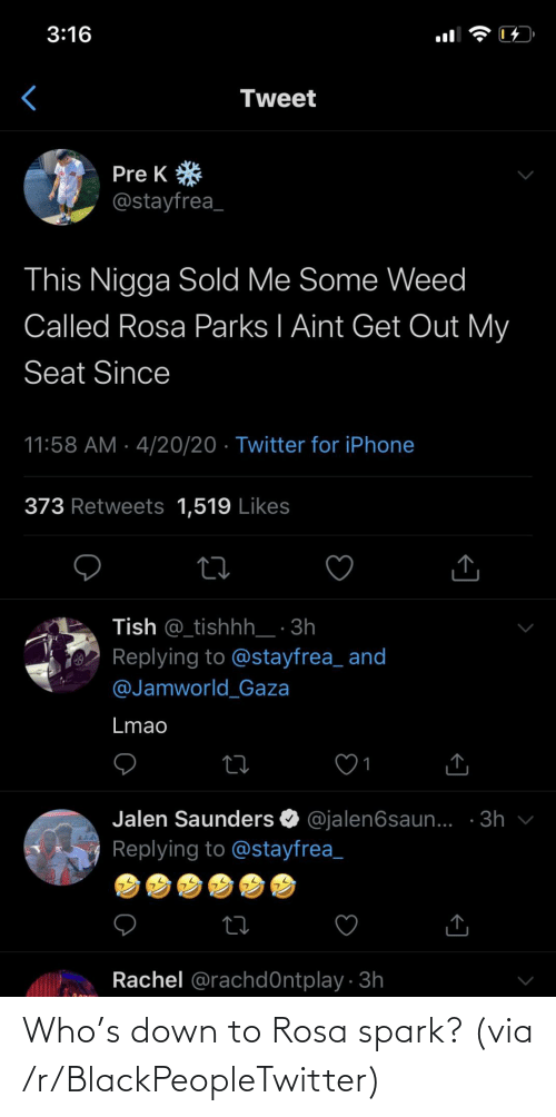 Rosa: Who's down to Rosa spark? (via /r/BlackPeopleTwitter)