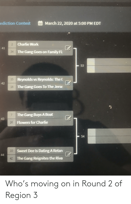 moving on: Who's moving on in Round 2 of Region 3