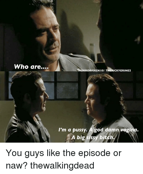 Or Naw: Who are....  LHORRORVIXEN 01 THIERICKYGRIMES  I'm a pussy  A god damn vagina.  A big sissy bitch. You guys like the episode or naw? thewalkingdead