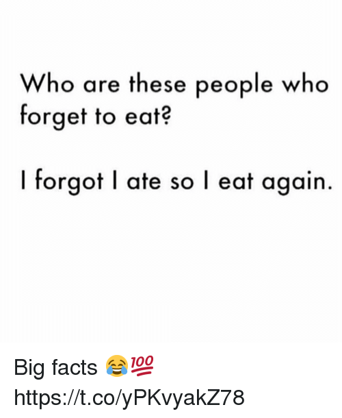 Facts, Who, and Big: Who are these people who  forget to eat?  I forgot I ate so l eat again Big facts 😂💯 https://t.co/yPKvyakZ78