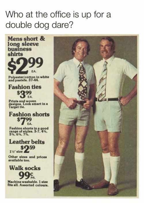 """Pastels: Who at the office is up for a  double dog dare?  Mens short&  long sleeve  business  shirts  $299  EA.  Polyester/cotton in white  and pastels. 37-44  Fashion ties  $32  EA.  Prints and woven  designs.  Target tie.  smart in a  Fashion shorts  #799  Fashion shorts in a good  5.6%, 7  Leather belts  1%"""" size  Other sizes and prices  available too.  Walk socks  Machine washable. 1 size  fits all. Assorted colours."""
