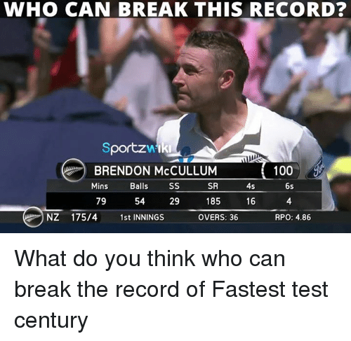 rpo: WHO CAN BREAK THIS RECORD?  portzwtki  A  100  BRENDON McCULLUM  SR  Mins  Balls  SS  4s  6s  185  79  16  54  29  NZ 175/4  1st INNINGS  OVERS: 36  RPO: 4.86 What do you think who can break the record of Fastest test century