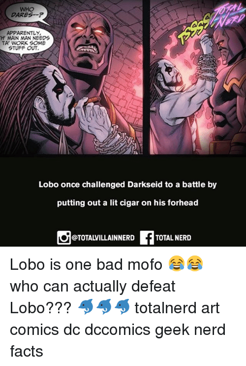 Darkseid: WHO  DARESP  APPARENTLY  H MAIN MAN NEEDS  TA' WORK SOME  STUFF OUT  Lobo once challenged Darkseid to a battle by  putting out a lit cigar on his forhead  @TOTALVILLAINNERD  TOTAL NERID Lobo is one bad mofo 😂😂 who can actually defeat Lobo??? 🐬🐬🐬 totalnerd art comics dc dccomics geek nerd facts