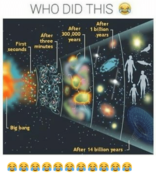 300, Banging, and Trendy: WHO DID THIS  After  After 1 billion  After 300,000  years  three  a years  First  minutes  seconds L Big bang  After 14 billion years 😂😂😂😂😂😂😂😂😂😂😂