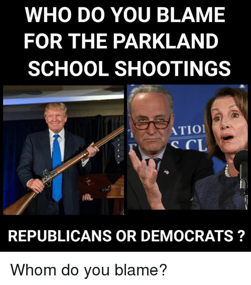School, Who, and School Shootings: WHO DO YOU BLAME  FOR THE PARKLAND  SCHOOL SHOOTINGS  ATIO  it  REPUBLICANS OR DEMOCRATS? Whom do you blame?