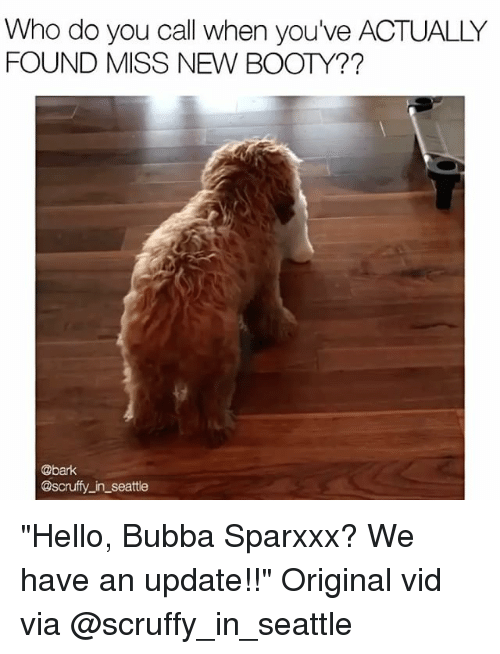 "Booty, Bubba, and Hello: Who do you call when you've ACTUALLY  FOUND MISS NEW BOOTY??  @bark  @scruffy in Seattle ""Hello, Bubba Sparxxx? We have an update!!"" Original vid via @scruffy_in_seattle"