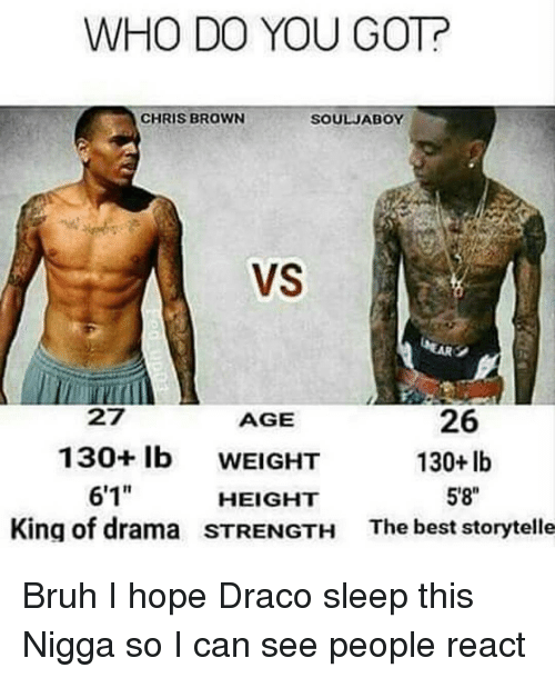 "Chris Brown, Memes, and Browns: WHO DO YOU GOT?  CHRIS BROWN  SOULJABOY  VS  26  AGE  130 lb  WEIGHT  130+ lb  6'1""  5'8""  HEIGHT  King of drama STRENGTH  The best storytelle Bruh I hope Draco sleep this Nigga so I can see people react"
