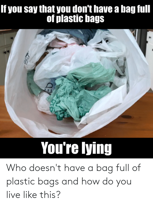 bags: Who doesn't have a bag full of plastic bags and how do you live like this?