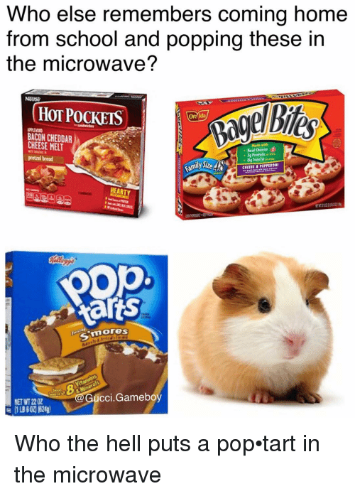 Gucci, Hot Pockets, and Memes: Who else remembers coming home  from school and popping these in  the microwave?  (HOT POCKETS  Oneida  BACON CHEDDAR  CHEESE MET  Made with  Real Cheese  7g Protein  pretzel bread  0g Trans Fat  CHEERI B PIPPERONI  EARTY  pop  Aarts  3 mores  Gucci Gameboy  NET 2202 Who the hell puts a pop•tart in the microwave