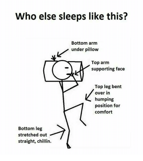 Straight Chillin: Who else sleeps like this?  Bottom arm  Lunder pillow  Top arm  supporting face  Top leg bent  over in  humping  position for  comfort  Bottom leg  stretched out  straight, chlin.  straight, chillin.