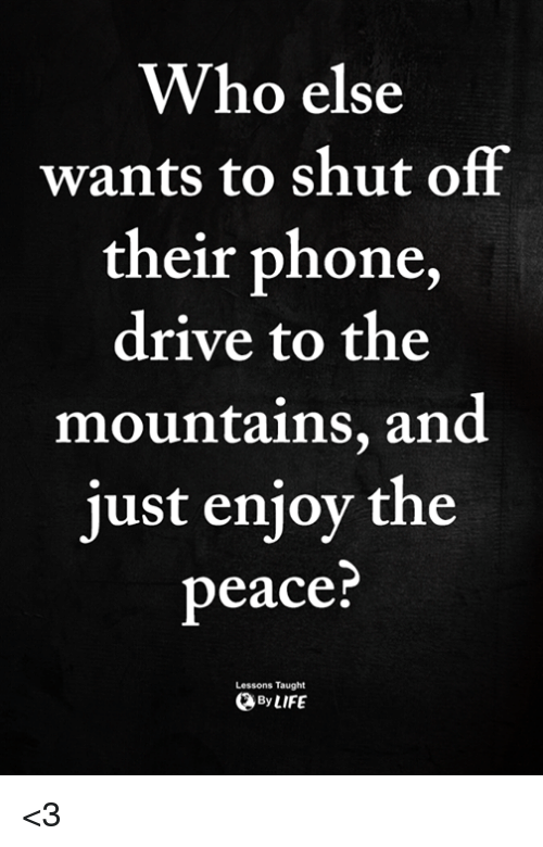 Memes, Phone, and Drive: Who else  wants to shut off  their phone,  drive to the  mountains, and  just enjoy the  peace  Lessons Taught  ByLIFE <3