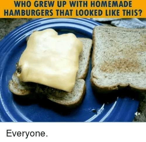 Facebook, Meme, and Terrible Facebook: WHO GREW UP WITH HOMEMADE  HAMBURGERS THAT LOOKED LIKE THIS? Everyone.