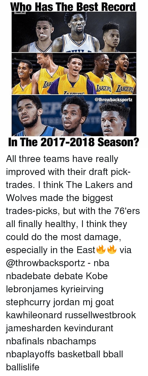 Philadelphia 76ers, Basketball, and Los Angeles Lakers: Who Has The Best Record  AKERS AKERS  @throwbacksportz  In The 2017-2018 Season? All three teams have really improved with their draft pick- trades. I think The Lakers and Wolves made the biggest trades-picks, but with the 76'ers all finally healthy, I think they could do the most damage, especially in the East🔥🔥 via @throwbacksportz - nba nbadebate debate Kobe lebronjames kyrieirving stephcurry jordan mj goat kawhileonard russellwestbrook jamesharden kevindurant nbafinals nbachamps nbaplayoffs basketball bball ballislife